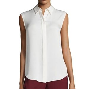 Theory Hekanina Silk Sleeveless Pocket Blouse